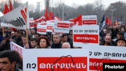 Armenian Revolutionary Federation supporters demonstrate in Yerevan against the Turkish-Armenian agreements.