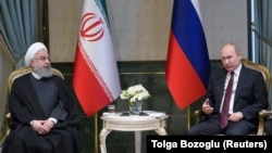 Russian President Vladimir Putin meets with his Iranian counterpart Hassan Rohani in Ankara, April 4, 2018