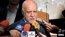 Bijan Namdar-Zanganeh, Iran's Oil Minister, speaking to reporters on the sidelines of a ceremony to announce new oil and gas contracts. July 20, 2020.