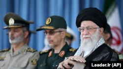 IRAN -- Iranian Supreme Leader Ayatollah Ali Khamenei attends a ceremony in a military academy, in Tehran, June 30, 2018