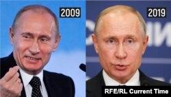 Владимир Путин в 2009 и 2019 годах
