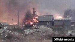 Пожар в поселке Тыгда, Амурская область