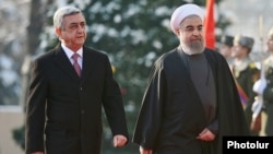 Armenia - Iranian President Hassan Rouhani meets with his Armenian counterpart Serzh Sarkisian at the start of an official visit to Yerevan, 21Dec2016.