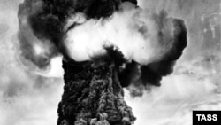 The first Soviet nuclear test was carried out in Semipalatinsk in 1949.