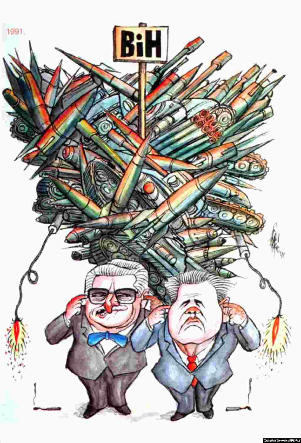 Autor karikature: Hasan Fazlić, foto: Zvjezdan Živković