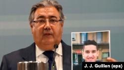 وزیر کشور اسپانیا در یک کنفرانس خبری تصویری از یونش ابویعقوب را به خبرنگاران نشان میدهد.