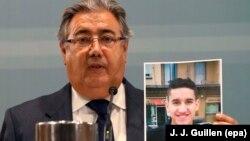 Міністар унутраных справаў Гішпаніі Хуан Ігнасіё Сойда паказвае фатаздымак Юнэса Абуяакуба, падазраванага ва ўчыненьні тэракту