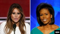 Melania Trump (l), Michelle Obama (d),