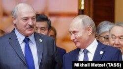 Аляксандр Лукашэнка і Ўладзімір Пуцін у Нур-Султане, 29 траўня