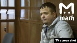 A TV screen grab of Bakhtiyor Matyakubov in court last month.
