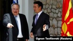 Ohër: Ministri i Jashtëm i Greqisë Nikos Kotzias dhe ai i Maqedonisë Nikolla Dimitrov