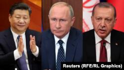 Зліва направо: Сі Цзіньпін, Володимир Путін та Реджеп Тайїп Ердоган