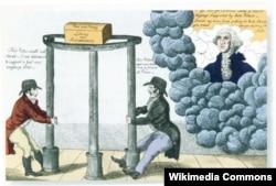 """Карикатура 1800 года. Джордж Вашингтон на небесах с тревогой наблюдает, как федералисты и республиканцы разрушают опоры американской государственной системы. На столбах написано: """"Федерализм"""", """"Республиканизм"""", """"Демократия"""". На сундуке, который покоится на столбах, – """"Мир и изобилие, свобода и независимость"""""""