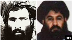 A combination image of what are believed to be photographs of Mullah Mohammad Omar (left) and Mullah Akhtar Mohammad Mansur