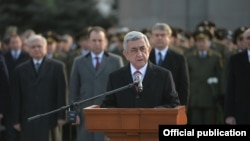 Armenia - President Serzh Sarkisian gives a speech at the Yerablur military cemetery in Yerevan, 27 January 2018.