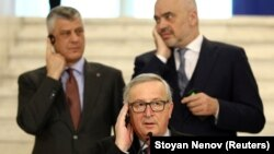 European Commission President Jean-Claude Juncker (center) with Kosovo's President Hashim Thaci (left) and Albanian Prime Minister Edi Rama in Sofia on March 1.