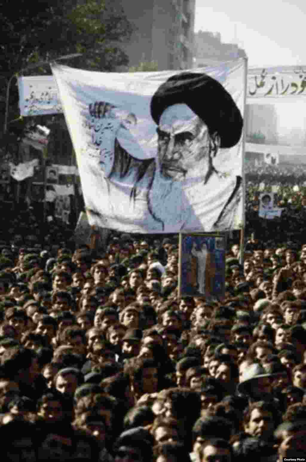Supporters of the Iranian Revolution demonstrate outside the U.S. Embassy in Tehran during the crisis.