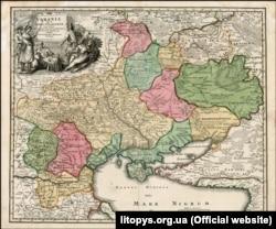 Нова редакція (1720 року) мапи України Йоганна-Баптиста Гоманна, яка була видана в Нюрнберзі у 1716 році. Назва мапи: «Vkrania que terra Cosaccorvm...» («Україна – територія козаків…»). На самій мапі в лівій частині є напис UKRAINA, а поряд RUSSIA RUBRA. А за межами основних частин мапи, які виділені різними кольорами, зверху у правій частині на білому тлі є напис RUSSIA. (Щоб відкрити мапу у більшому форматі, натисніть на зображення. Відкриється у новому вікні)