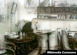 Lev Tolstoy öz iş otağında.