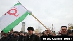 Жители Ингушетии на акции протеста против передачи своих земель Чечне, Магас, 31 октября 2018 года