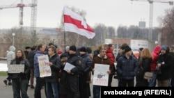 Акцыя супраць міліцэйскага гвалту, арганізаваная Анатолем Лябедзькам, Менск, 30 студзеня 2016 году