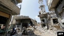 Pamje nga dëmtimet e mëdha nga lufta në provincën Homs në Siri