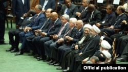 Iran - Armenian President Serzh Sarkisian and other foreign dignitaries attend the inauguration of Iran's President Hassan Rouhani in Tehran, 5Aug2017.