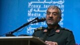 """The head of Iran's paramilitary Revolutionary Guard Gen. Mohammad Ali Jafari speaks at a conference called """"A World Without Terror,"""" in Tehran, October 31, 2017"""