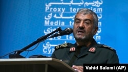 "The head of Iran's paramilitary Revolutionary Guard Gen. Mohammad Ali Jafari speaks at a conference called ""A World Without Terror,"" in Tehran, October 31, 2017"