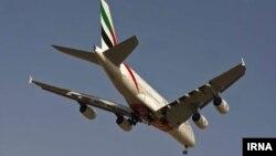 پرواز ایرباس ۳۸۰ خطوط هوایی امارات در آسمان ایران.