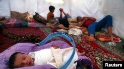 Mosuldan gaçyp çykan maşgalalaryň biriniň çadyry, 13-nji iýun, 2014.