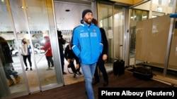 Российский атлет Александр Румянцев в здании Спортивного арбитражного суда. Женева, 22 января 2018 года.