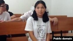 Инга Иманбай, молодежная активистка, на суде. Алматы, 28 июня 2012 года.
