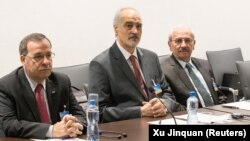 Сириската владина делегација на преговори во Женева на 14 јули 2017