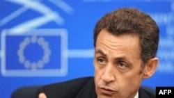 French President Nicolas Sarkozy in Strasbourg