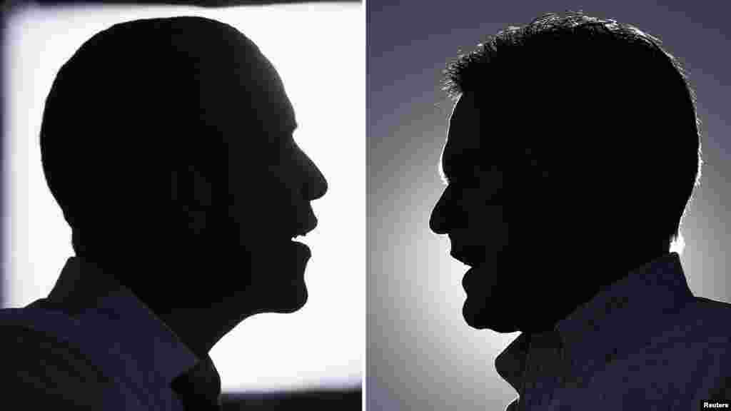 A composite photo shows silhouettes of President Barack Obama and Republican presidential nominee Mitt Romney.