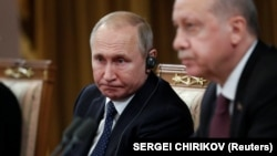 Владимир Путин Режеп Эрдўған билан. Сочи, 2019, 14 февраль.