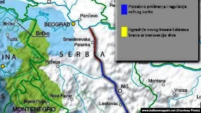 Deo mape potencijalnog kanala Dunav-Morava-Vardar