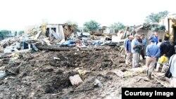 محل اصابت موشک در اردوگاه لیبرتی