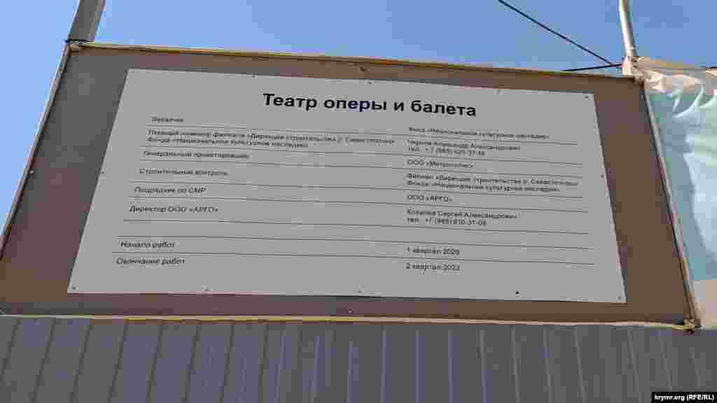 Информационный стенд о строительстве театра оперы и балета