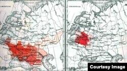 Распределение главнейших народностей (по родному языку) по данным переписи 1897 года