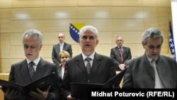 Mirsad Kebo, Živko Budimir i Svetozar Pudarić polažu zakletvu 17. mart 2011. godine