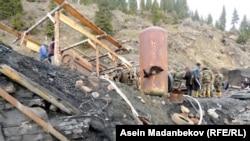 После обвала шахты Жыргалан в Иссык-Кульской области Кыргызстана.