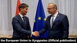 Министр иностранных и европейских дел Хорватии Гордан Грлич Радман и министр иностранных дел Кыргызстана Чингиз Айдарбеков.
