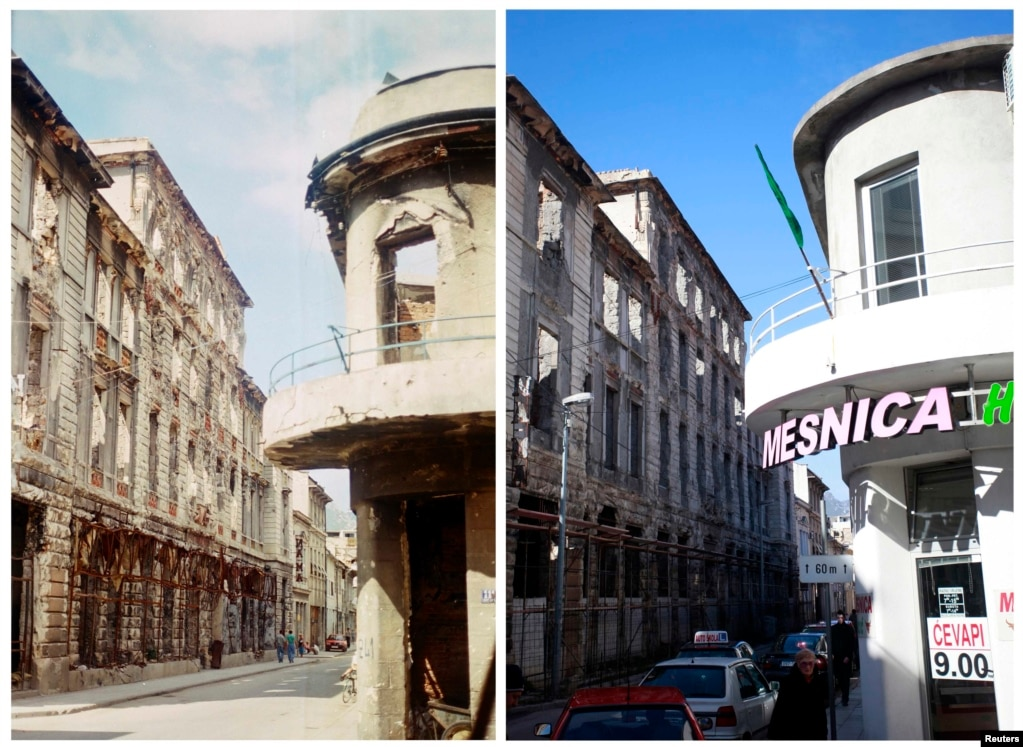 Marshall Tito Street in Mostar in 1993 and in 2013