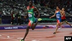 Гренада атлеті Кирани Джеймс 400 метрге жүгіруден олимпиада чемпионы атанды. Лондон, 6 тамыз 2012 жыл.