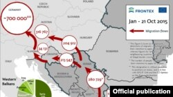 Frontexova mapa kretanja migranata u 2015.