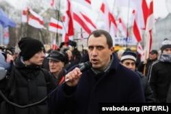 Павло Северинець на опозиційній акції. Мінськ, 2019 рік