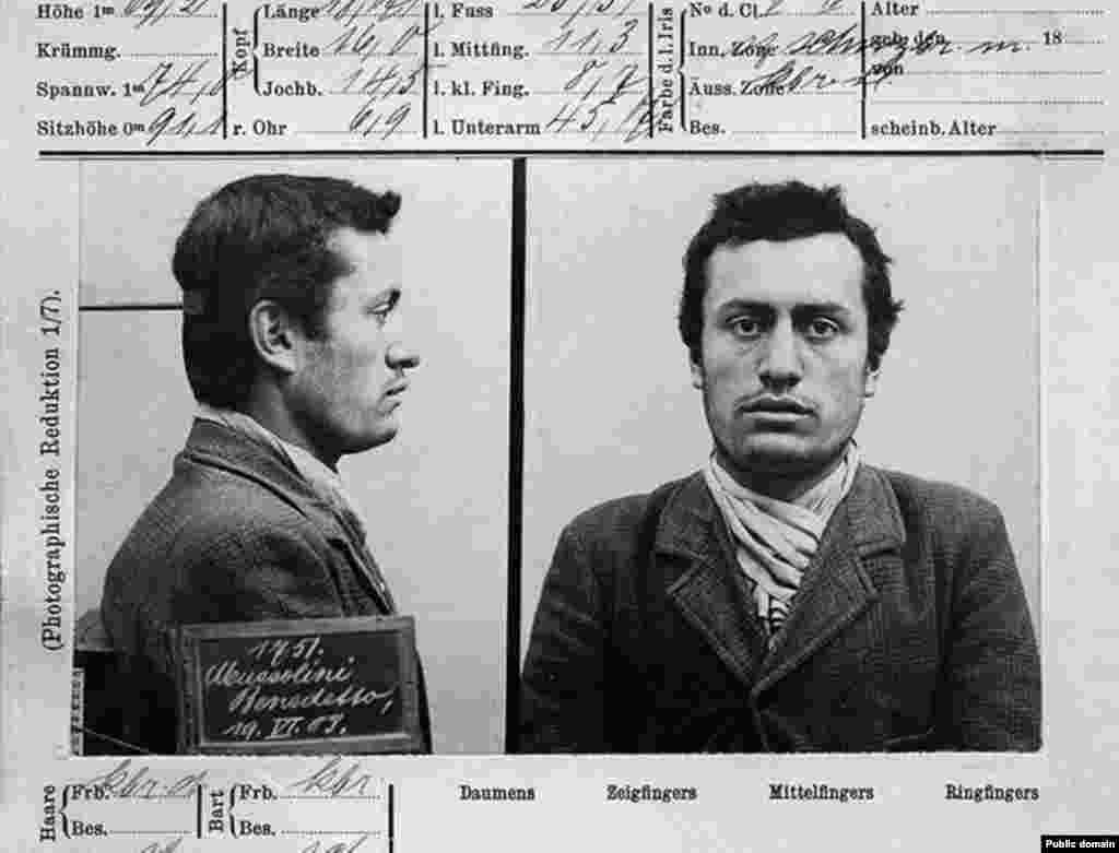Benito Mussolini -- the future Italian dictator -- in custody in 1903 in Switzerland, where he'd emigrated partly to avoid Italian military service but failed to find a permanent job. He was arrested by Swiss authorities after supporting a violent worker's strike.