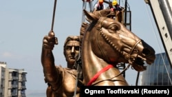 Greece has long been irked by Macedonia claims to Alexander The Great. This giant statue was installed in Skopje in 2011